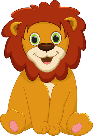 lion cartoon: Cute baby lion cartoon
