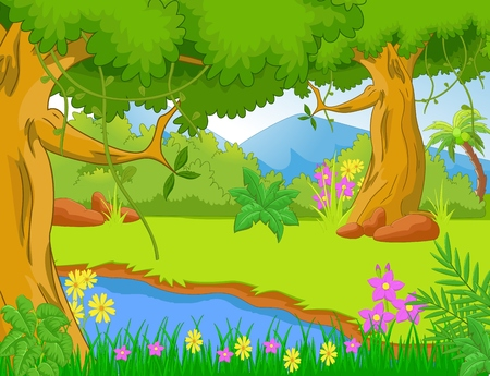 nature scenery: Illustration of the jungle with trees and plants