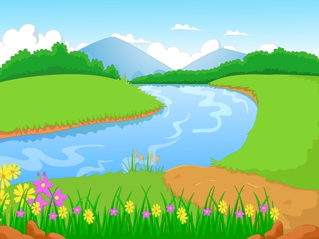 pond: Illustration of a forest with a river and flower