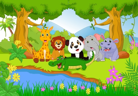 jungle green: cute safari animal in the jungle