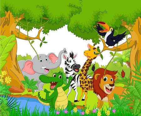 Tierkarikatur im Dschungel Standard-Bild - 49620738