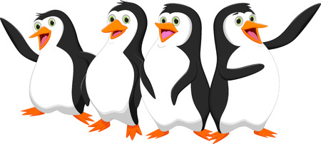 four cute cartoon penguin  イラスト・ベクター素材