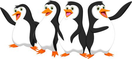four cute cartoon penguin Ilustração