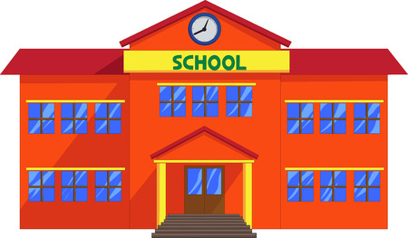 school class: Cartoon school building Illustration