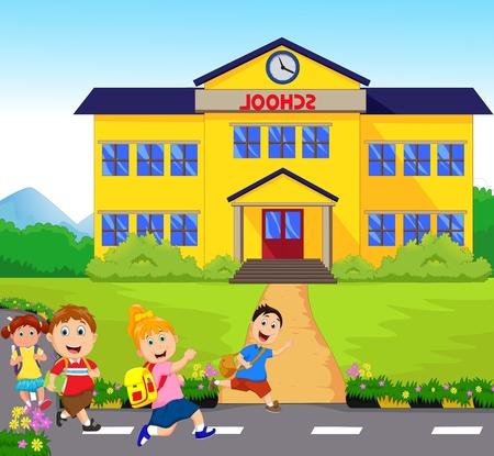 cartoon school girl: happy Little kids going to school
