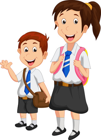 school boys: Cartoon school children