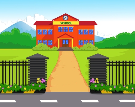 Cartoon school gebouw met groene tuin