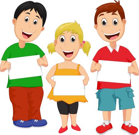 teen boy: Cartoon children with blank sign