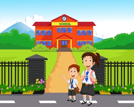 cartoon little girl: Little kids going to school