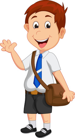 1 school bag: cute boy go to school Illustration