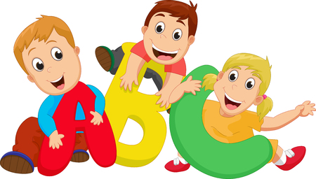 happy School theme with ABC letters Vectores