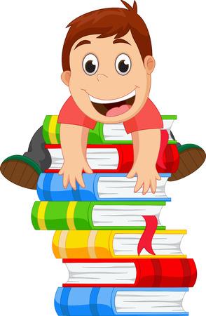 little boy: little boy climbing a book