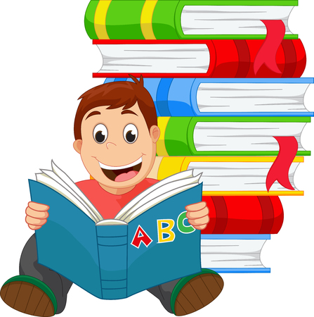 student studying: Little boy reading a book Illustration