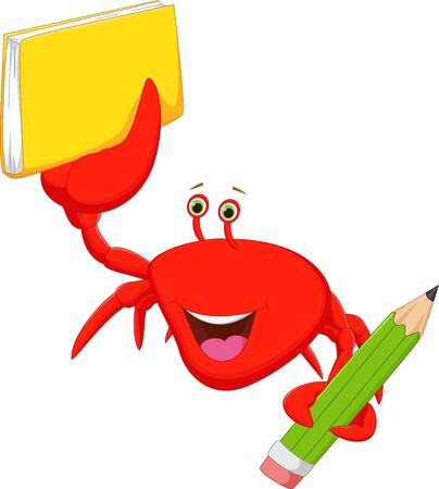 cangrejo caricatura: caricatura de cangrejo feliz con los libros y el l�piz