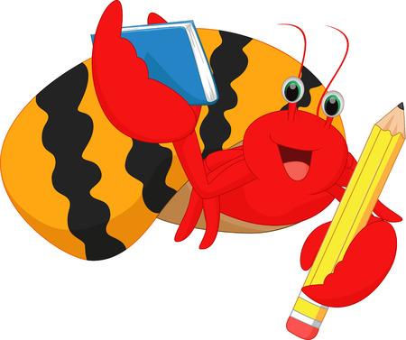hermit crabs: cute hermit crabs holding yellow pencil