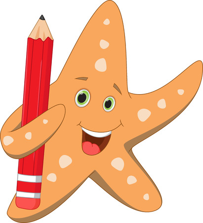 red pencil: happy starfish holding red pencil