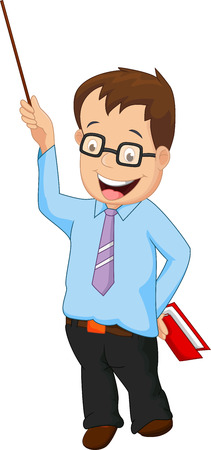 male teacher: Cartoon male teacher presentation