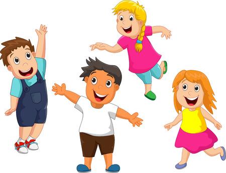 group of kids: Happy kid cartoon
