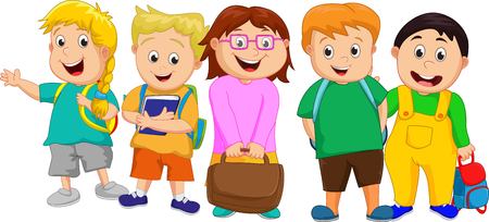 small group: A Small Group of Kids Going to School
