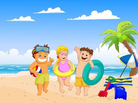 在海滩的愉快的夏天孩子