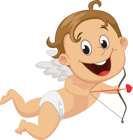 cartoon hands: Funny little cupid with bow and arrow Illustration