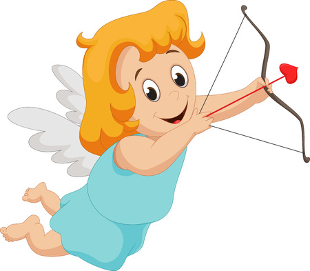 desire: Funny little girl cupid with bow and arrow
