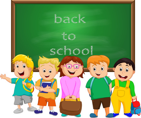 small group: A Small Group of Kids school boy standing in front of chalkboard