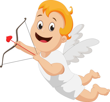 Funny little cupid with bow and arrow Illustration