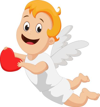mosca caricatura: divertido peque�o Cupido con el coraz�n rojo Vectores