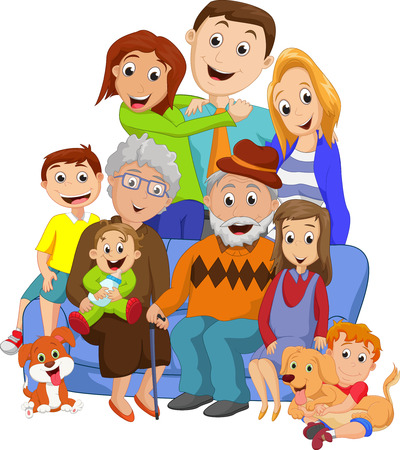 grandpa and grandma: Big family with grandparents