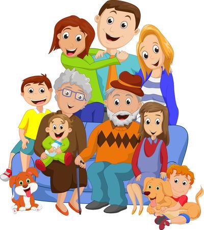 Gran familia con los abuelos Foto de archivo - 54754230