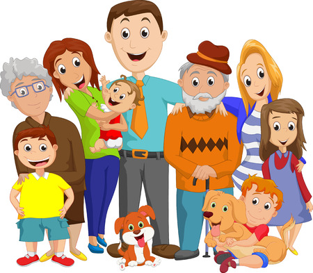 happy teenagers: Illustration of a big family portrait