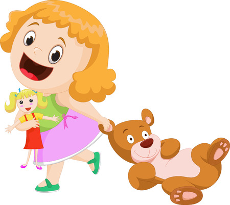 stuffed toys: cute little girl with stuffed toys