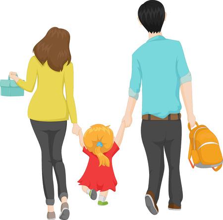 joven familia que recorre con su pequeña hija a una escuela nueva