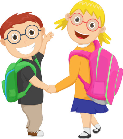 scholar: little boy with girl walking to school carrying a bag pack