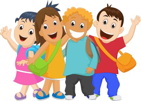 Group of kids going to school together. Vektoros illusztráció