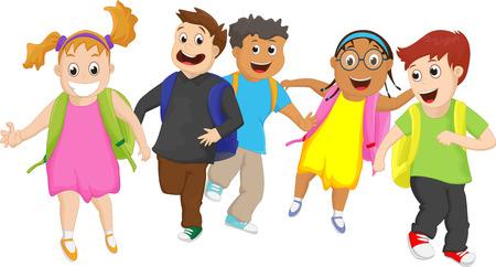Basisschoolleerlingen buiten lopen samen Stock Illustratie