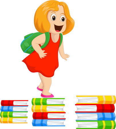 youthful: happy little girl with a backpack walking on a pile of books