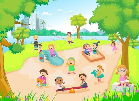 kinder garden: children playing in the playground Illustration