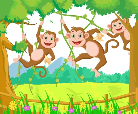 thumping: happy monkey cartoon playing in the forest