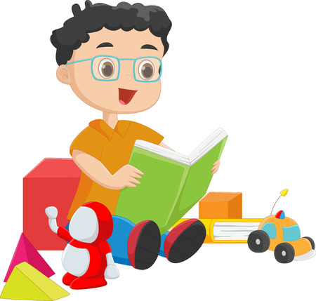 toy story: cute boy reading a book with toys
