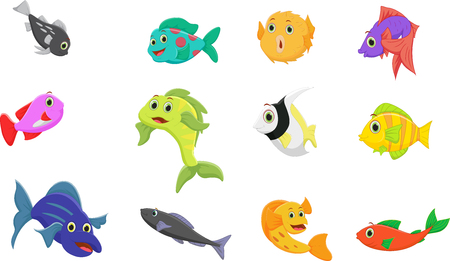 trigger fish: fish cartoon collection set Illustration