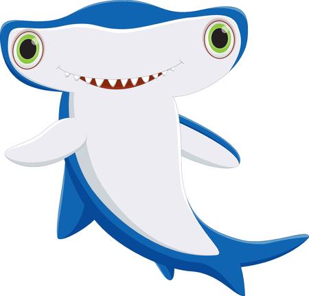 pez martillo: Lindo martillo de dibujos animados de tiburón
