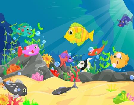 ilustracja podwodnego świata z koralowcami i tropikalnymi rybami