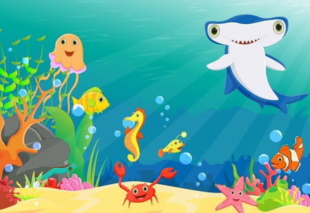 pez martillo: ilustración de un arrecife de coral con peces gracioso y tiburón martillo