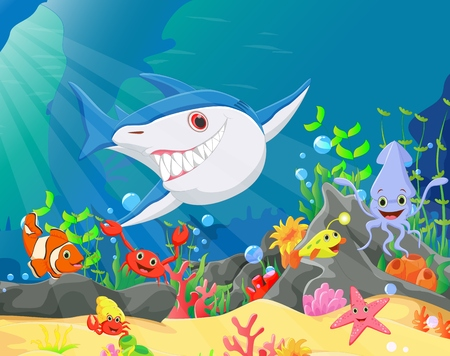 underwater fishes: illustration of Underwater world with reefs and tropical fishes