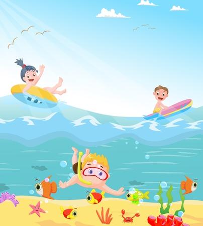 beam with joy: funny kids swimming theme