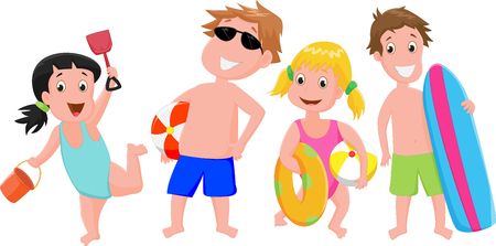 beach ball girl: illustration of happy kids with toy beach Illustration