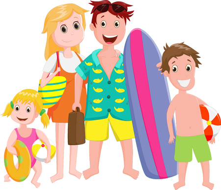 beach ball girl: happy Family Outing at the Beach isolated on white Illustration