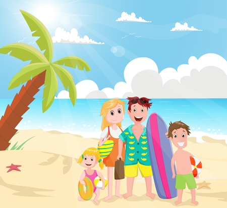 outing: happy Family Outing at the Beach